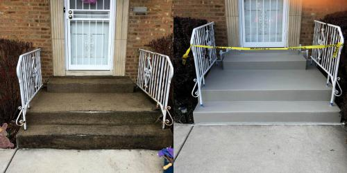 concrete stairs Lisle before and after renovation