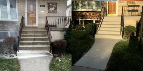 concrete stairs before and after renovation